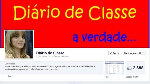 Adolescente criou página para comentar problemas da escola (Foto: Reprodução/Facebook)