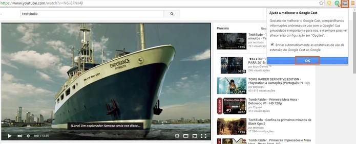 Encontre o vídeo no YouTube e inicie a conexão com o Chromecast (Foto: Reprodução/Barbara Mannara)