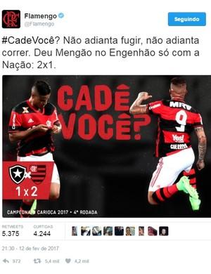 Flamengo provoca Botafogo no Twitter (Foto: Reprodução/Twitter)