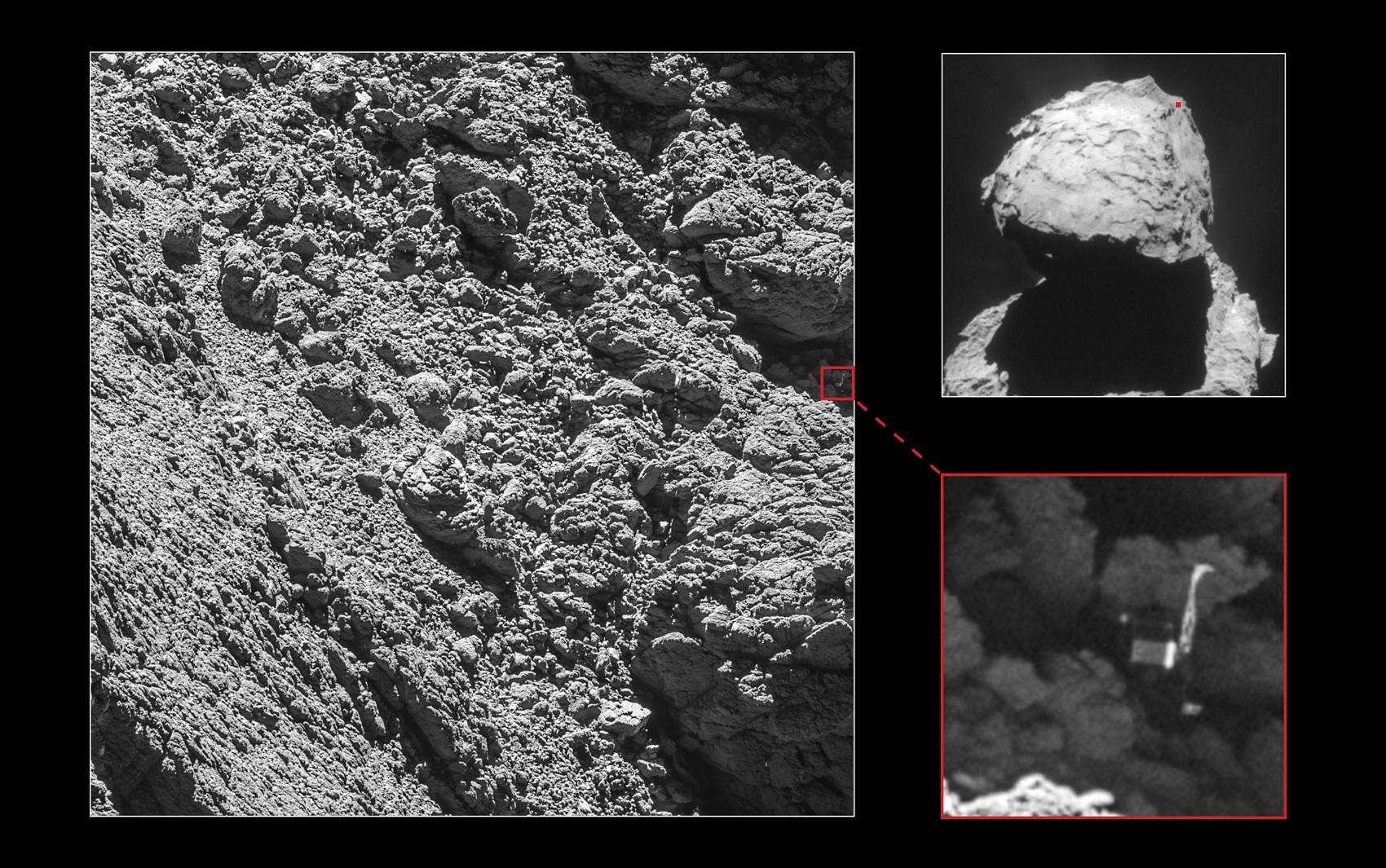 Robô Philae foi identificado pela câmera OSIRIS, da sonda Rosetta, em imagens tiradas em 2 de setembro (Foto: ESA/Rosetta/MPS for OSIRIS Team MPS/UPD/LAM/IAA/SSO/INTA/UPM/DASP/IDA)