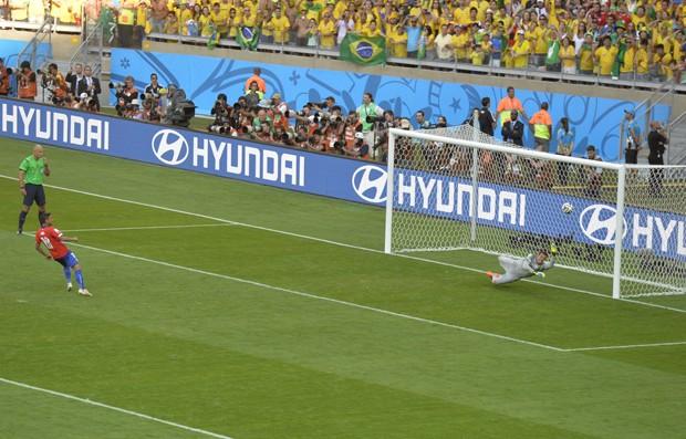 Pênalti perdido por zagueiro chileno quebrou recorde de mensagens por minuto no Twitter (Foto: AFP)