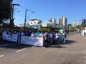 Protesto ocorreu na Avenida Mário Ypiranga, Zona Centro-Sul de Manaus (Foto: Diego Toledano/G1 AM)