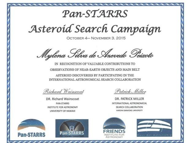 Mylena recebeu certificado internacional do projeto (Foto: Arquivo Pessoal)