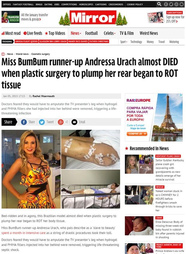 Andressa Urach é matéria em jornais internacionais (Foto: Reprodução)