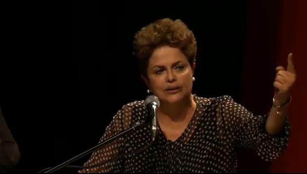 Dilma discursa no aniversário de 35 anos do PT, em Minas (Foto: Reprodução / Site PT)