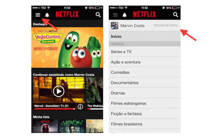 Acessando a página de perfis de usuário do Netflix pelo celular (Foto: Reprodução/Marvin Costa)