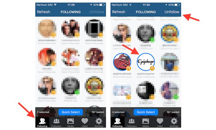 Selecionando contatos que deseja deixar de seguir simultaneamente no Cleaner for Instagram (Foto: Reprodução/Marvin Costa)