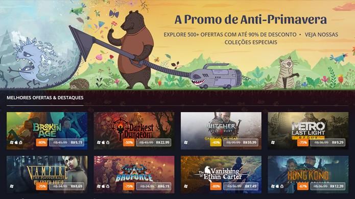 A promoção de Anti-Primavera do GoodOldGames traz títulos como The Witcher 3 com bons descontos (Foto: Reprodução/Rafael Monteiro)