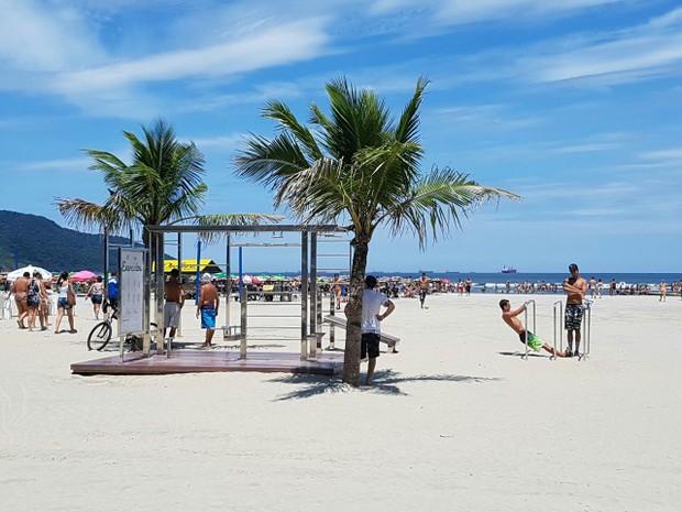 d457c38fb G1 - Praia de Santos ganha o primeiro parque de calistenia do ...