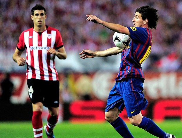 Messi na partida do Barcelona contra o Atlhetic Bilbao final da Copa do Rei (Foto: AFP)