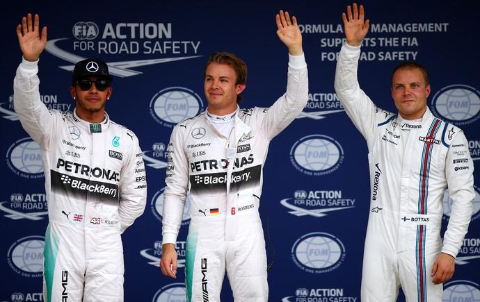 Nico Rosberg, entre Lewis Hamilton e Valtteri Bottas: os três primeiros do treino classificatório para o GP do Japão (Foto: Getty Images)