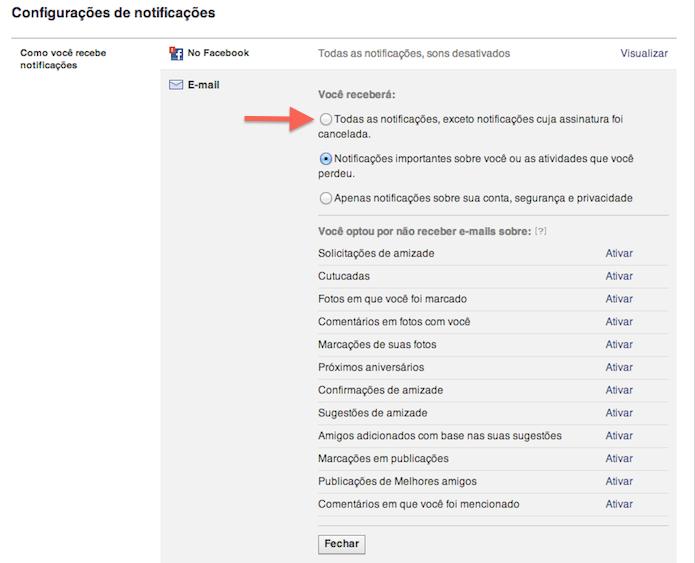 Configurando as notificações por e-mail do Facebook (Foto: Reprodução/Marvin Costa)