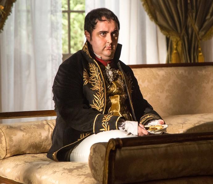 Bruno Nogueira é responsável por interpretar o Príncipe Regente, D. João VI (Foto: Fabiano Battaglin / Gshow)