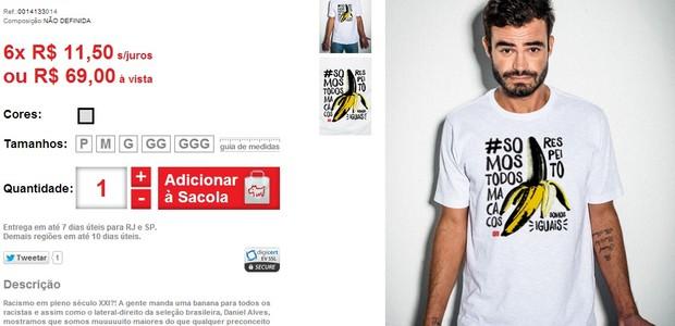Marca de Luciano Huck vende camiseta com a hashtag #somostodosmacacos (Foto: Divulgação)