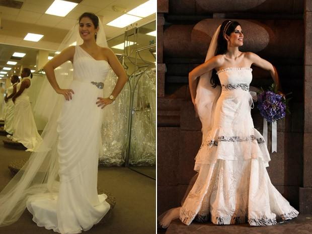 A brasileira Maria Augusta Bolzan, experimentando vestidos de noiva em Miami e no dia do seu casamento (Foto: Montagem: Divulgação/Cristiano Feder)
