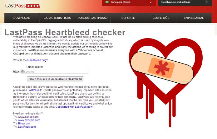 Um identificador informa quais sites podem ter sido afetados pelo bug (Reprodução/LastPass HeartBleed)