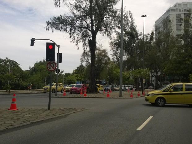Bloqueio nos canteiros da Lagoa para impedir o estacionamento (Foto: Lilian Quaino/G1)