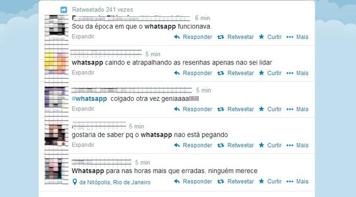 Whatsapp sai do ar e recebe críticas no Twitter (Foto: Reprodução/ Twitter)