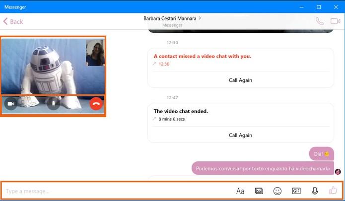 Converse com seu amigo por texto e envie imagens enquanto está na videochamada (Foto: Reprodução/Barbara Mannara)