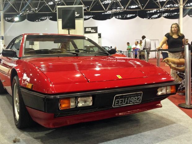 Ferrari Mondial 1982 com placa preta exibida no AutoEsporte ExpoShow (Foto: Luciana de Oliveira/G1)