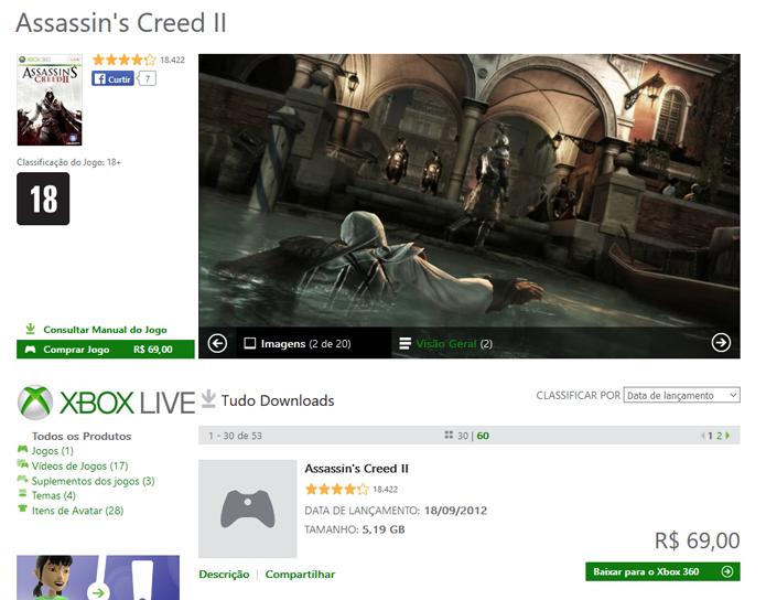 Página de Assassins Creed 2 na Xbox Marketplace (Foto: Reprodução/André Mello)