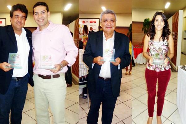 Romerito Kênio, Rogério Simões, Cláudio Rodriques e Hismênia Pacheco receberam o troféu Garra Esporte (Foto: Wilson Barbosa)