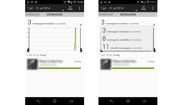 Callistics também monitora todos os SMS trocados durante o mês de tarifação (Foto: Reprodução/Paulo Alves)