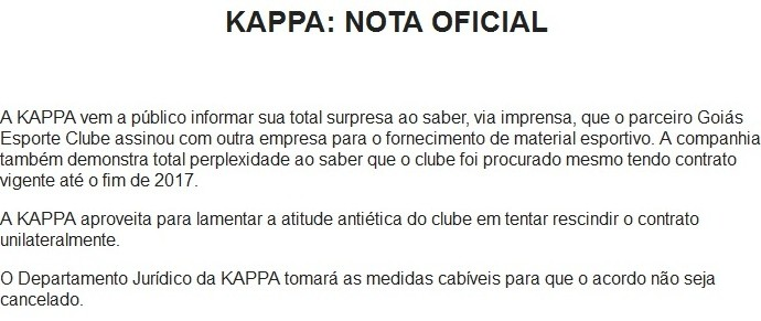Kappa emite nota oficial contra o Goiás (Foto: Reprodução)