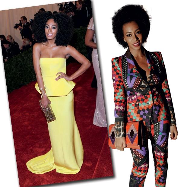 A moda vibrante de Solange: a cantora de vestido Rachel Roy no gala do Met de 2012 (à esquerda) e de terno Just Cavalli. (Foto: Reprodução)