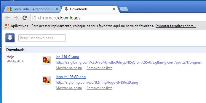 Visualizando o link das imagens baixada no Chrome (Foto: Reprodução/Edivaldo Brito)