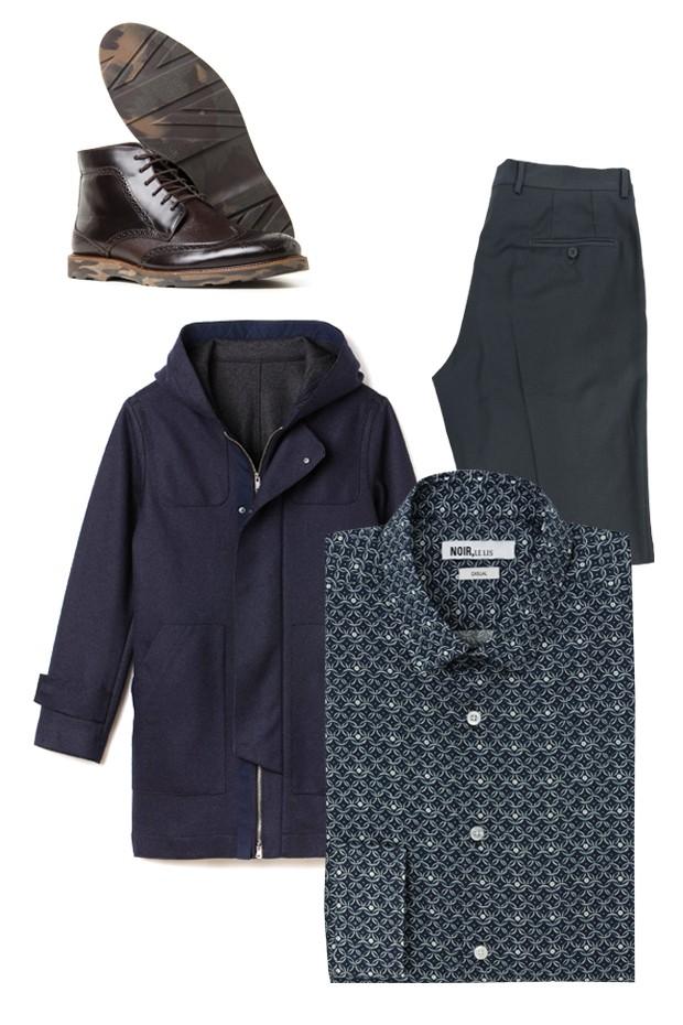 Bota VR (R$ 479), casaco Lacoste (R$ 2.200), calça Zapälla (R$ 599) e camisa Noir, Le Lis (R$ 368) (Foto: Divulgação)