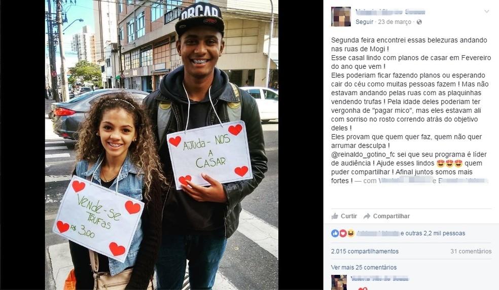 Postagem feita por Valéria Teixeira fez com que muitos profissionais se dispusessem a ajudar o casal de noivos (Foto: Reprodução/ Facebook)