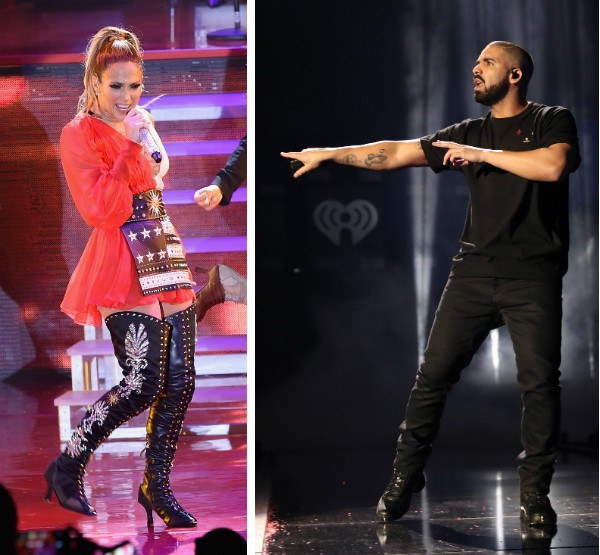A cantora Jennifer Lopez e o rapper Drake (Foto: Getty Images)