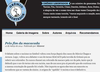 Site Grêmio Libertadores pede o fim de termos racistas no Grêmio (Foto: Reprodução)
