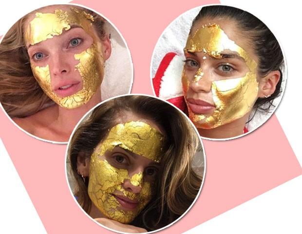 Elsa Hosk, Sara Sampaio e Izabel Goulart são algumas das adeptas da máscara de folhas de ouro (Foto: Reprodução/Instagram)