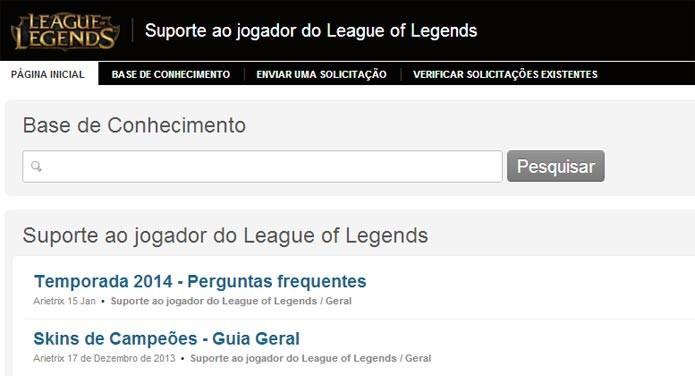 Página inicial de suporte do League of Legends (Foto: Reprodução)