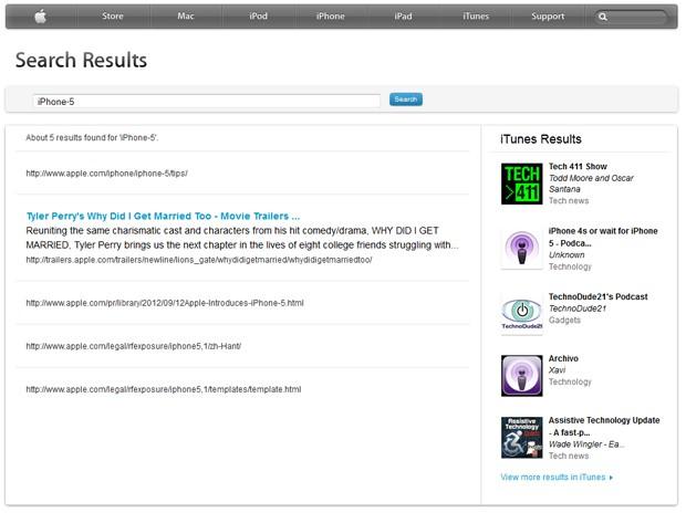 Pesquisa em site da Apple mostra resultados relacionados ao iPhone 5 (Foto: Reprodução)