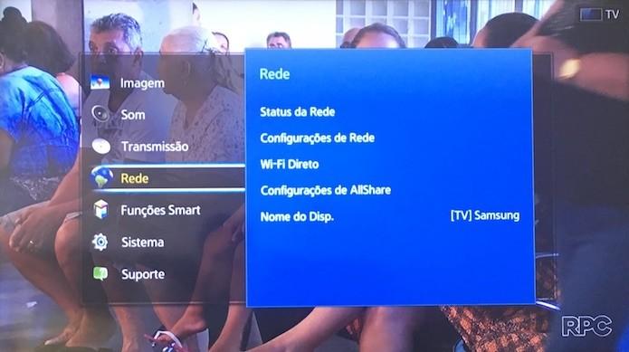 Acesse as configurações de rede da TV (Foto: Reprodução/Helito Bijora)