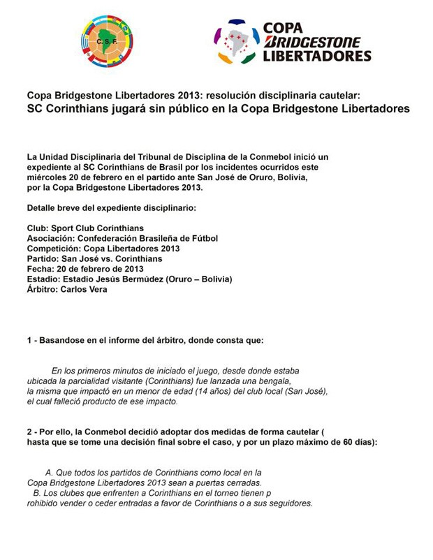 Documento Conmebol Corinthians Libertadores (Foto: Reprodução)