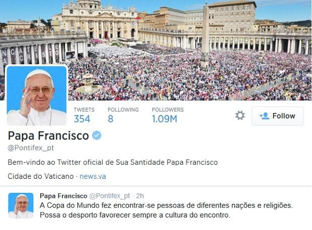 Papa Francisco publicou mensagem sobre a Copa do Mundo no Twitter  (Foto: Reprodução/Twitter)