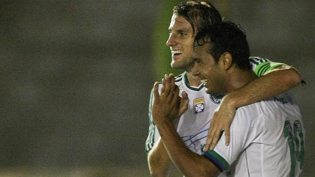 Vinicius comemora, América-RN x Palmeiras (Foto: Cesar Greco)