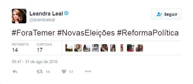 Leandra Leal (Foto: Twitter / Reprodução)