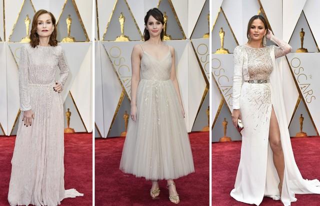 Celebridades apostaram em looks brancos para o Oscar (Foto: Getty Images)