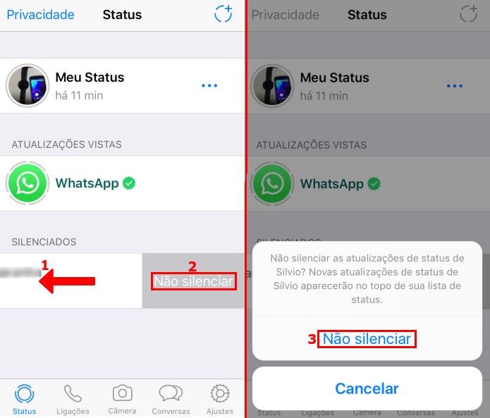 Desfazendo o silenciamento de status de um contato no WhatsApp (Foto: Reprodução/Edivaldo Brito)