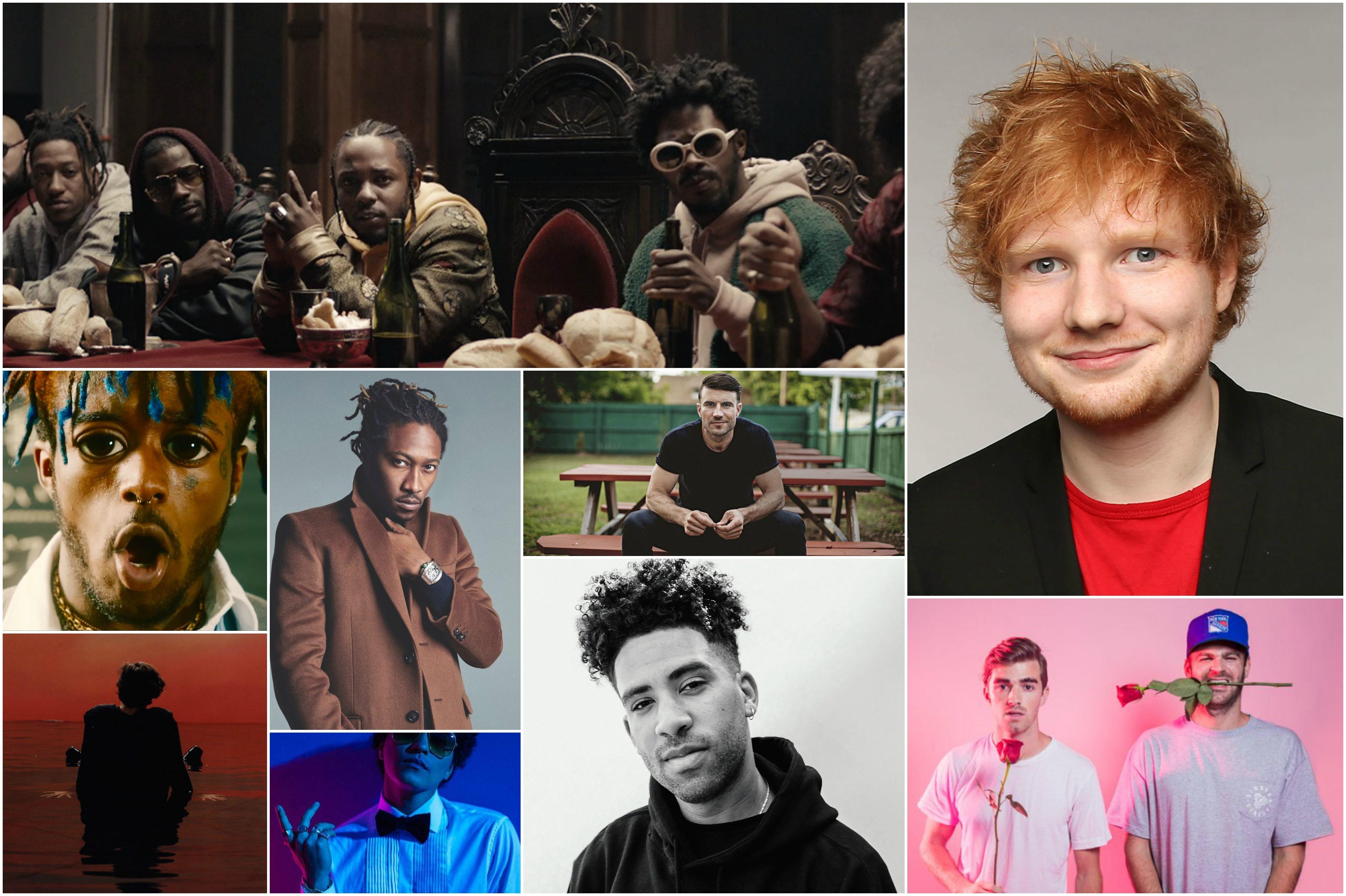 Os homens que ocupam as 10 primeiras posies do Hot 100 da Billboard, nesta semana (Foto: Divulgao)