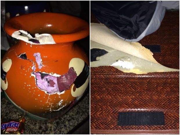 Droga estava escondida em vasos e roupas dentro de mala, diz PRF (Foto: Divulgação/PRF-AC)
