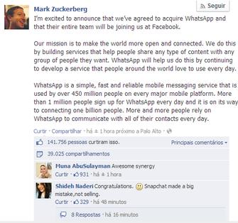 Post de Mark Zuckerberg foi muito curtido (Foto: Reprodução/Facebook)