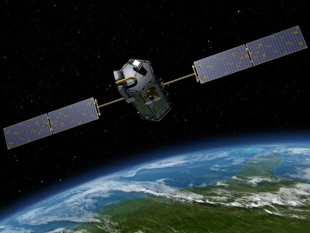 Concepção artísitca mostra satélite OCO-2, da Nasa, no espaço; satélite vai medir CO2 na atmosfera  (Foto: AFP Photo/Nasa/JPL-Caltech)