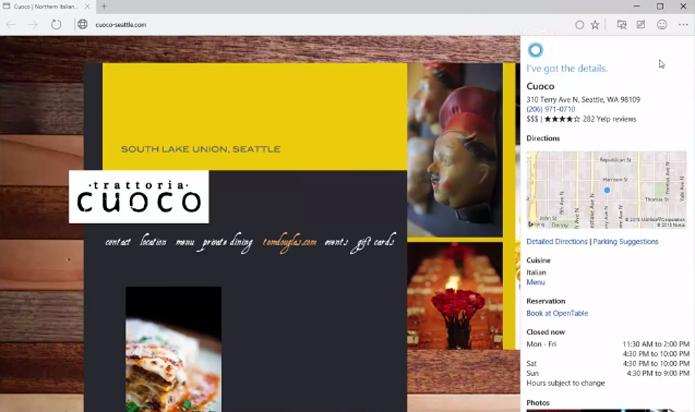 Cortana pode buscar informações de lojas e restaurantes automaticamente (foto: Reprodução/Youtube)