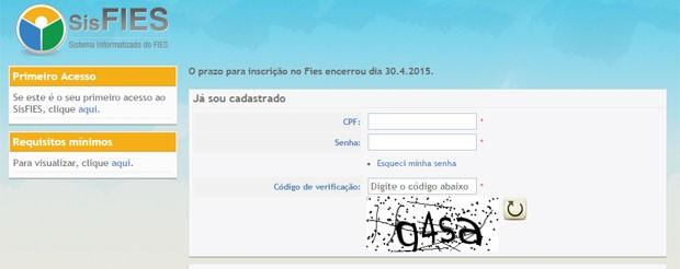 Site do Fies fechou para novas inscrições às 23h59 desta quinta-feira (Foto: Reprodução/Fies)